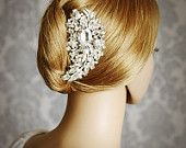 BRENDA, Large Vintage Wedding Hair Comb, Crystal Pearl and Rhinestone Bridal Hair Comb, Old Hollywood Wedding Hair Accessories