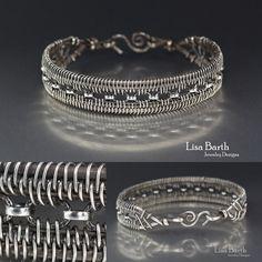 Hand woven bracelet in sterling silver.  - Lisa Barth
