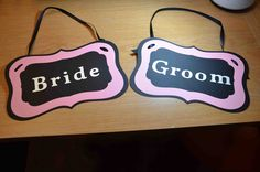 Double sided Bride / Groom and Thank / You banner signs for photos and weddings available at https://www.facebook.com/ajs.craft.creations