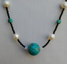 Turquoise and Freshwater Pearl Necklace - Turquoise, Pearl and Black Necklace - Handmade Turquoise and Pearl Necklace - Beaded Jewelry by KarenElizabethJ on Etsy Black Necklace, Turquoise Necklace, Beaded Jewelry, Beaded Necklace, Black Seed, Memory Wire Bracelets, Freshwater Pearl Necklaces, Czech Glass Beads, Handmade Necklaces