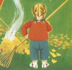 """Eloise Wilkin Illustrations.  This picture is from 'Autumn Fires' by Robert Louis Stevenson's """"A Child's Garden of Verses"""", the Little Golden Book version. I was just reading it to my sweet little grand baby tonight!"""