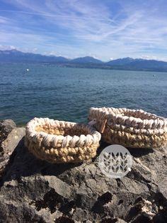 Baskets jute & t-shirt yarn beige. Message me for a custom order. T Shirt Yarn, Jute, Baskets, Beige, Crocheting, Hampers, Basket, Burlap