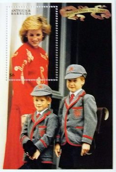 "Princess Diana ""Off to School"" Commemorative Stamp Sheet Issued by Antigua and Barbuda, Diana - Princess of Wales 1961 - 1997."