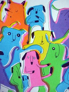 Dogs illustration, colourful neon, rainbow scre... - Folksy