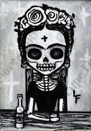 dia de los muertos frida black and white - Google Search
