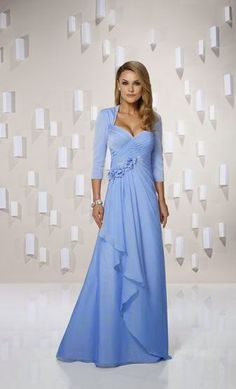 Long Light Blue Mother of the Bride Dresses