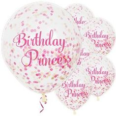 Decorate with gorgeous balloons Confetti balloons supplied uninflated Each measures 12 inches Pack of 6 These pretty Birthday Princess' balloons come Pastel Balloons, Clear Balloons, Mini Balloons, Gold Confetti Balloons, Balloon Party, Pink Princess Party, Princess Balloons, Princess Birthday, Beauty Party Ideas