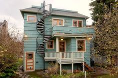 Craftsman Deck with Fence, French doors, Spiral staircase, Glass panel door, Outdoor kitchen, Pathway