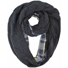 d1636eceab11 Black Cable Knit Infinity Scarf With Flannel Lining Écharpe Tartan, Écharpe  En Cercle, Maille