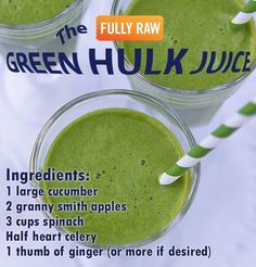 The green hulk juice: cucumber, granny smith apples, spinach, celery, ginger Juice Smoothie, Smoothie Drinks, Smoothie Recipes, Vitamix Recipes, Detox Drinks, Hulk, Cold Press Juicer, Healthy Juices, Healthy Foods