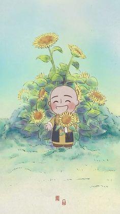 Qi Gong, Buddha Zen, Zen Art, Buddhist Art, Ink Illustrations, Japanese Art, Cute Pictures, Chibi, Kawaii