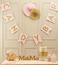 "Candy Bar-Girlande ""Pastel Perfection"" - gold/rosa - 2m 