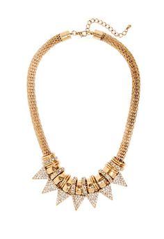 Geometric collar necklace with rhinestone detail. JustFab