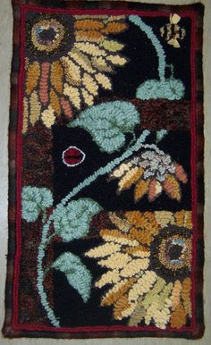 Sunflowers hooked by Maureen Mercer