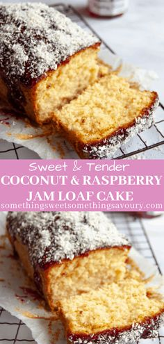 This simple coconut and raspberry jam loaf cake is an old fashioned recipe that is so easy to make yet so lovely. A tender coconut loaf cake spread with raspberry jam and topped with lots of dessicated coconut! Coconut Loaf Recipes, Coconut Loaf Cake, Cake Recipes Uk, Sponge Cake Recipes, Homemade Cake Recipes, Sweet Recipes, Dessert Recipes, Healthy Baking Recipes Uk, Coconut Cake Easy