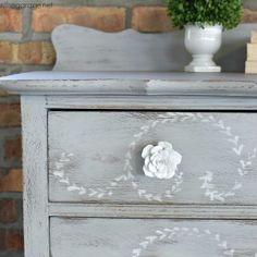 DIY distressed stenciled feminine highboy makeover with Chalk Paint and Miss Mustard Seed stencil by Girl in the Garage
