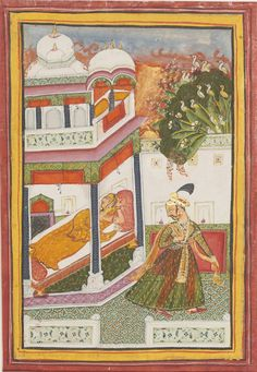 An Illustration to a Ragamala  Series: Lalita Ragini. Opaque watercolor heightened with gold on paper, Rajasthan, Bundi, ca. 1770, A lord departs the bedchamber of his beloved at dawn holding a flower-garland.