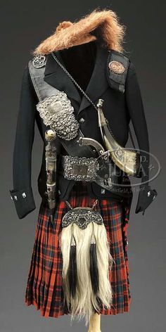 SCOTTISH VICTORIAN ERA (CLAN MCINTOSH) DRESS REGALIA WITH PISTOL, DIRK, HORN, KILT, JACKET, SPORRAN, HATS, AND BELTS.