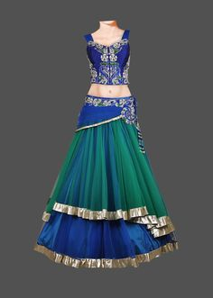 Featuring a peacock color lehenga with navy blue, white, & green Swarovski, and cut-dana hand embroidery. The multi-layer skirt is finished with silk, cancan, a