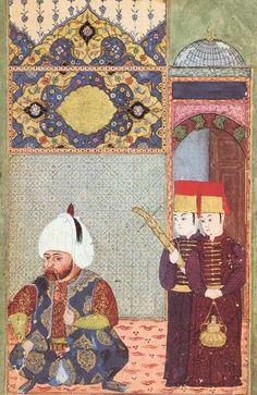 Turkish head officer with two armour bearers. Illustrations of Ottomans of 1570 from an album by Szigetvári Csöbör Balázs  Fig 2