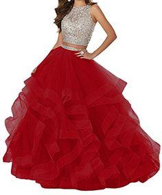 KaBuNi Women s Gorgeous Two Pieces Quinceanera Dress Ruffles Long Prom Gown  Red8 8995cc4c1da3