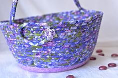 Artisan Easter Basket Handmade Flower Girl Basket Lavender