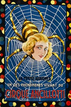 Spider Woman  'The Living Phenomena'   Vintage circus poster  1920s  http://www.vintagevenus.com.au/products/vintage_poster_print-c458