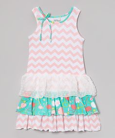 This Coral Chevron Tiered Ruffle Dress - Infant, Toddler & Girls by Flap Happy is perfect! #zulilyfinds