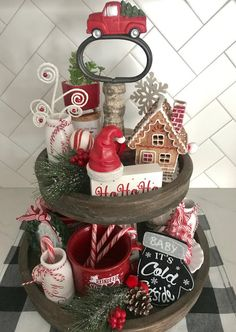 Decorating a Tiered Tray // Christmas Decorations // Christmas Tiered tray Gingerbread Christmas Decor, Decoration Christmas, Farmhouse Christmas Decor, Country Christmas, All Things Christmas, Vintage Christmas, Vintage Santas, Holiday Decorating, Silver Christmas