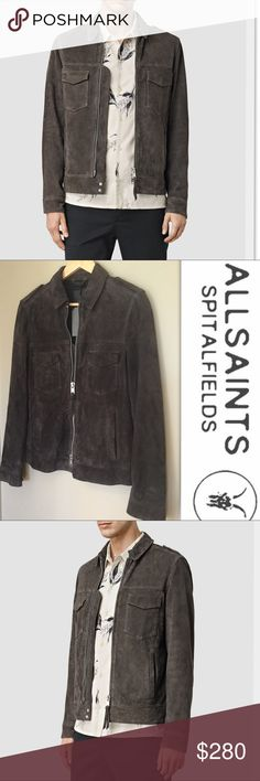 "All Saints Oakley Suede Jacket In Anthracite Gray Crafted from goat suede, this jacket from ALLSAINTS is a heritage-inspired casual classic. Button epaulettes Front zip with leather zip pull Flapped chest pockets with metallic button, two hand pockets Button cuffs Model: Waist-30"", Chest-38"", Height-6'1""; wearing: topM/trouser30. inseam: 32"" Goat leather Dry clean Imported All Saints Jackets & Coats"