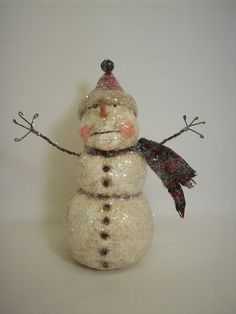 Folk Art Paper Mache Snowman Container by papiermoonprimitives, $60.00