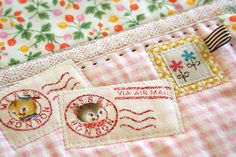 postmarks for fabric postcards Fabric Postcards, Fabric Cards, Embroidery Patterns, Hand Embroidery, Machine Embroidery, Small Quilts, Mini Quilts, Granny Chic, Sewing Crafts
