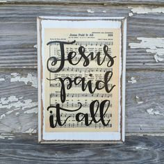 Our hand lettered hymn boards are made to order and will be mailed out via USPS Priority Mail within 3-5 business days of purchase. Each hymn is preserved on distressed wood that has been sized to the hymnal page. (Roughly 7x10in.) No two boards are alike and distressing will vary. They have a saw tooth hanger on the back for hanging, and can also be displayed on an easel.  It is our prayer that these timeless hymns will not only glorify our Lord and Savior Jesus Christ, but also bring back…