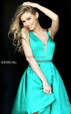 Short Sherri Hill 50495 Emerald Satin Homecoming Dress