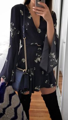 fashionable outfit / printed dress + bag + over the knee boots #omgoutfitideas #fashion #clothing