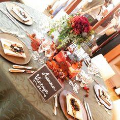 秋コーディネート✨テーマはVintage Autumenデニムとチェックのロゼットが素敵な大人なコーディネートに仕上がりました✨ #envue #restaurant #wedding #レストラン#アンヴュー#ウエディング#レストランウエディング#フレンチレストラン#宴内人前式#人前式#挙式#披露宴#帰国後パーティー#ウエディングケーキ#ウエディングパーティー#ブライダルフェア
