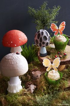 Decoupage your own fantasy world with these cute and unique fairy tale mushrooms! Easily incorporate them into your garden decor or themed parties