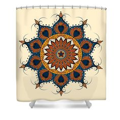 """Zendala - Zentangle - Mandala - Color On Ivory Background Shower Curtain by Sharon Norman.  This shower curtain is made from 100% polyester fabric and includes 12 holes at the top of the curtain for simple hanging.  The total dimensions of the shower curtain are 71"""" wide x 74"""" tall."""