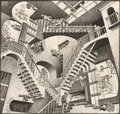 Free coloring page coloring-mc-escher-relativity. The famous drawing 'Relativity' by Mc Escher . Where is the begining? Illusion Kunst, Illusion Art, Illusion Paintings, Illusion Quotes, Illusion Pictures, Illusion Drawings, Op Art, Mc Escher Relativity, Perspective