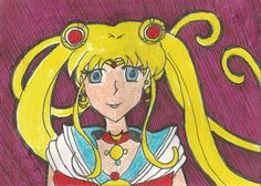 This is an Artist Trading Card I did of Sailor Moon. My dog riped off a corner so I had to edit it back in. Which corner? Mini Paintings, Artist Trading Cards, Atc, Sailor Moon, Princess Zelda, Art Cards, Deviantart, Gallery, Corner