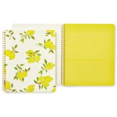 Kate Spade New York Bright Yellow Large Spiral Notebook- Lemon (£15) ❤ liked on Polyvore featuring home, home decor, stationery and bright yellow