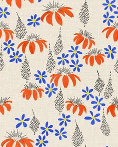 Ink Drawing this illustration is busier than I'd like, but I love the idea of a bright blue and orange accent - Textiles, Textile Patterns, Textile Prints, Textile Design, Fabric Design, Print Patterns, Illustration Blume, Pattern Illustration, Motif Floral