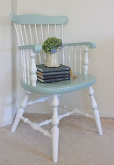 Old chair painted blue and white.