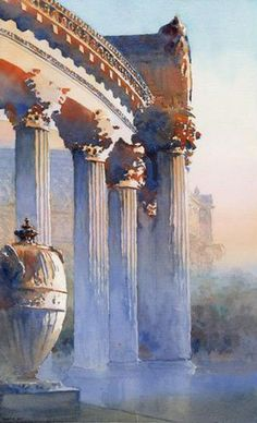 Watercolor artist Michael Reardon loves painting passages of white in watercolor because of the subtlety and beauty he is able to achieve through this one technique. Palace of Fine Arts, San Fransisco by Michael Reardon, watercolor painting.