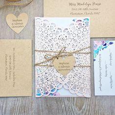 STEPHANIE - Blush Laser Cut Quinceañera Invitation - Rustic Sweet 16 Invite w/ Floral Design, Kraft Envelopes, Twine, and Heart Tag