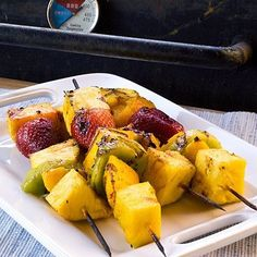 These fruit skewers will definitely be putting in an appearance at our next backyard cookout, no question! They're like a cocktail and an appetizer rolled into one. What could be better?
