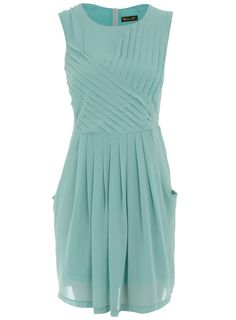 Mint sleeveless dress with crossover pleating detail and zip back fastening. 100 polyester. Machine washable.