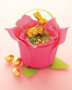 A rose basket made from crepe paper and a plastic bucket -- so easy!