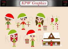 Christmas Elves in a PNG format. Personal & Small Commercial use Christmas Elf, School Projects, Elves, Clip Art, Scrapbook, Invitations, Dolls, This Or That Questions, Holiday Decor