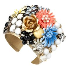 I love this - vintage earrings and brooches on a cuff bracelet Bohemian Blooms Cuff | Christina Conrad | Cuff Bracelet